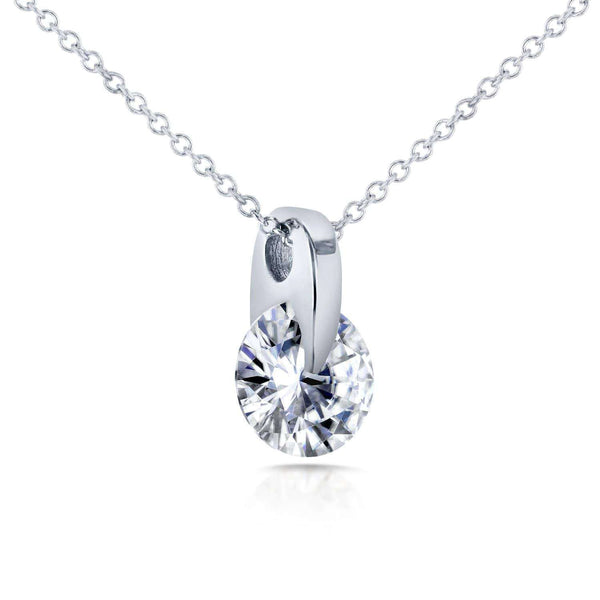 Kobelli Floating Round Diamond Solitaire Necklace 1 CTW in 14k White Gold 62188