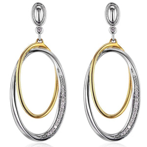 Diamond Dangle Oval Edge Earrings 1/10 CTW in 10K White and Yellow Gold