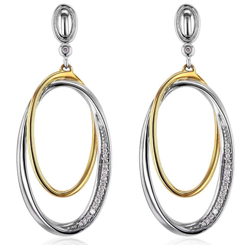 diamond dangle oval edge earrings in two tone gold