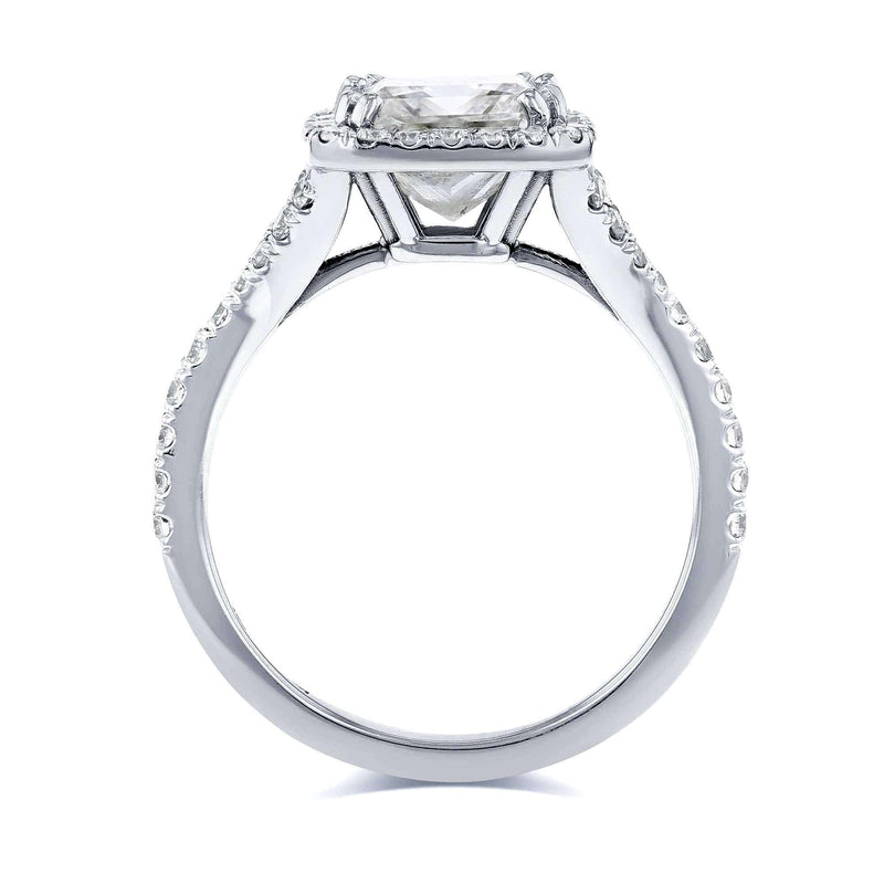 Kobelli Certified 2 4/5 Carat TW Princess Diamond Halo Engagement Ring in 18k White Gold