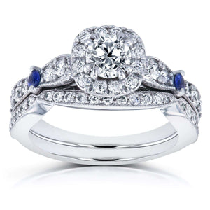 Diamond and Sapphire Bridal Set 1 1/6 CTW in 14k White Gold