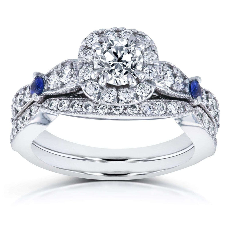 Kobelli Diamond and Sapphire Bridal Set 1 1/6 CTW in 14k White Gold