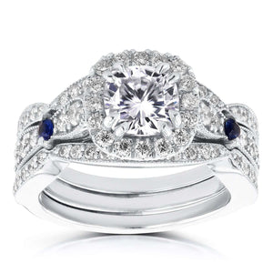 Diamond and Sapphire Bridal Set 1 7/8 Carat (ctw) in 14k White Gold (3 Piece Set)