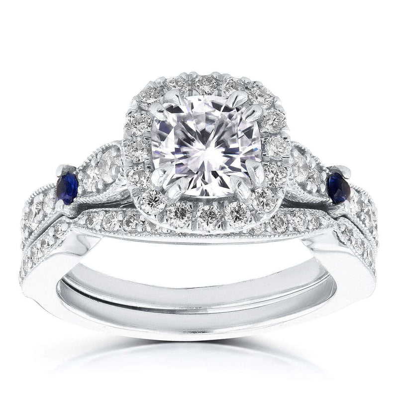 Kobelli Diamond and Sapphire Bridal Set 1 3/4 Carat (ctw) in 14k White Gold