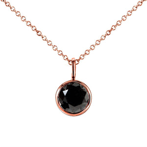 "Black Diamond Solitaire Bezel Pendant and Detachable Chain 1 CTW in 14K Rose Gold (16"" Chain)"