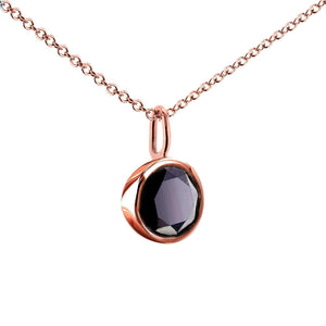 "Kobelli Black Diamond Solitaire Bezel Pendant and Detachable Chain 1 CTW in 14K Rose Gold (16"" Chain) 62201BK-R"