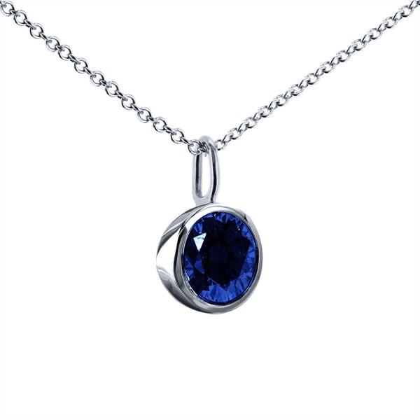 "Kobelli Blue Sapphire Solitaire Bezel Pendant and Detachable Chain 1 1/4 CTW in 14K White Gold (16"" Chain) 62201BS"