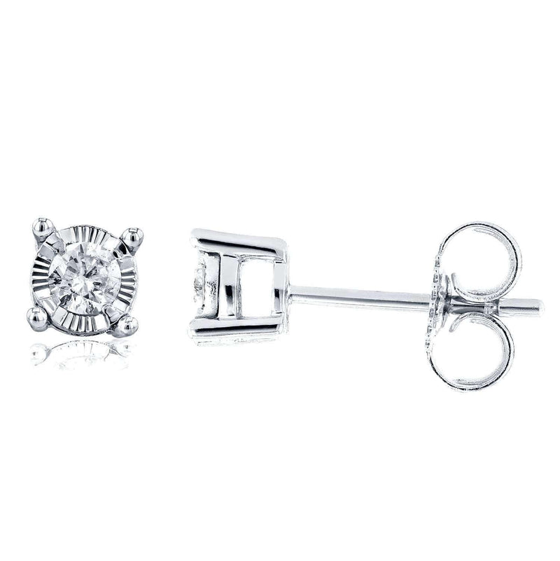 Kobelli Diamond Illusion Stud Earrings 1/6 CTW in 14K White Gold 62203