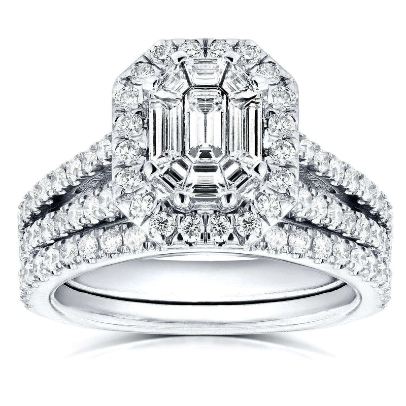 Kobelli Art Deco Emerald Cut Diamond Halo Bridal Set 1 1/2 CTW in 14k White Gold