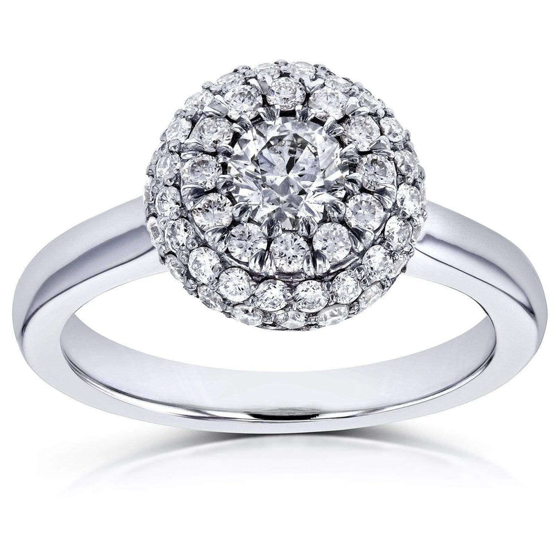 Kobelli Round Brilliant Diamond Dome Ring 4/5 CTW 14k White Gold
