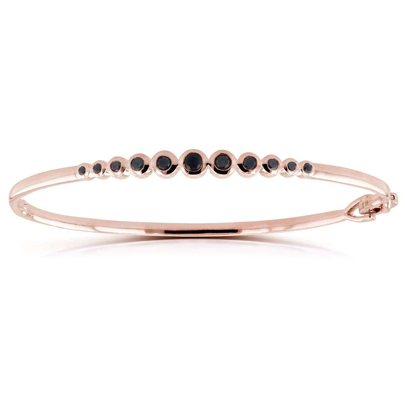 Kobelli Bezel-Set Black Diamond Bangle 1/2 ctw in 10k Rose Gold 62213BK-R