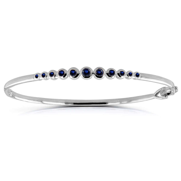 Kobelli Bezel-Set Blue Sapphire Bangle 3/4 ctw in 10k White Gold 62213BS-W