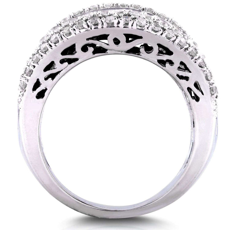 Kobelli Extra Wide Round and Baguette Multi Row Ring 2 1/2 CTW in 10K White Gold