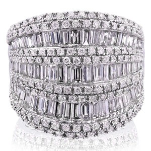 Extra Wide Round and Baguette Multi Row Ring 2 1/2 CTW in 10K White Gold