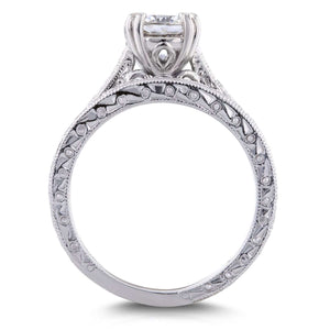 Round Diamond Antique Cathedral Bridal Set 1 1/3 CTW in 14k White Gold