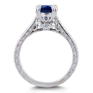 Sapphire and Diamond Accent Antique Engraved Engagement Ring 1 CTW 14k White Gold