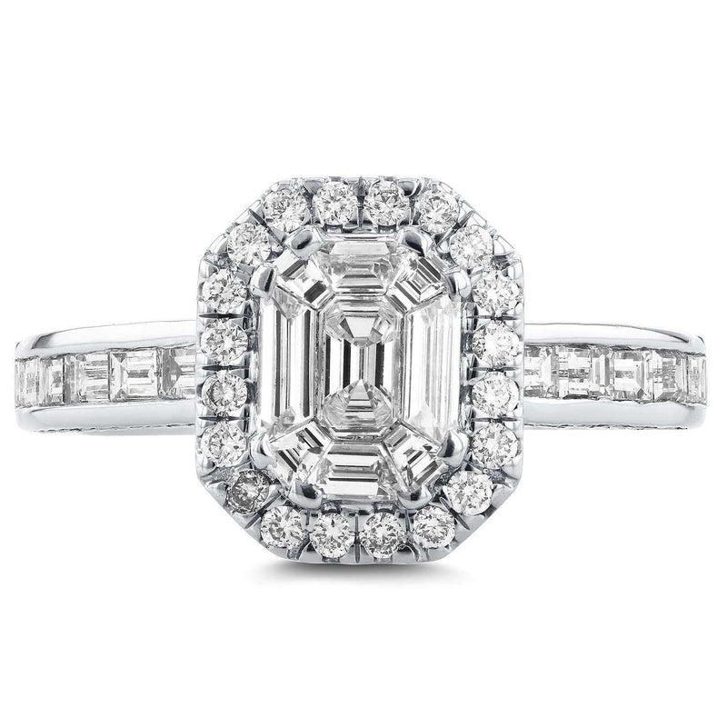 Kobelli Art Deco Emerald Cut Diamond Halo Engagement Ring 1 2/5 CTW in 14k White Gold