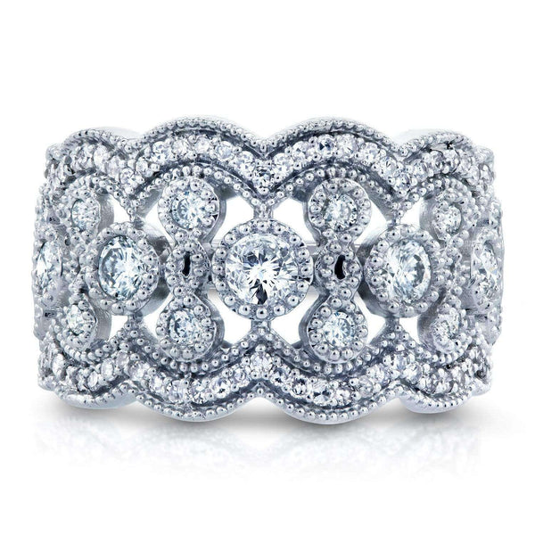 Kobelli Diamond Floral Wide Fashion Band 3/4 CTW in 10K White Gold