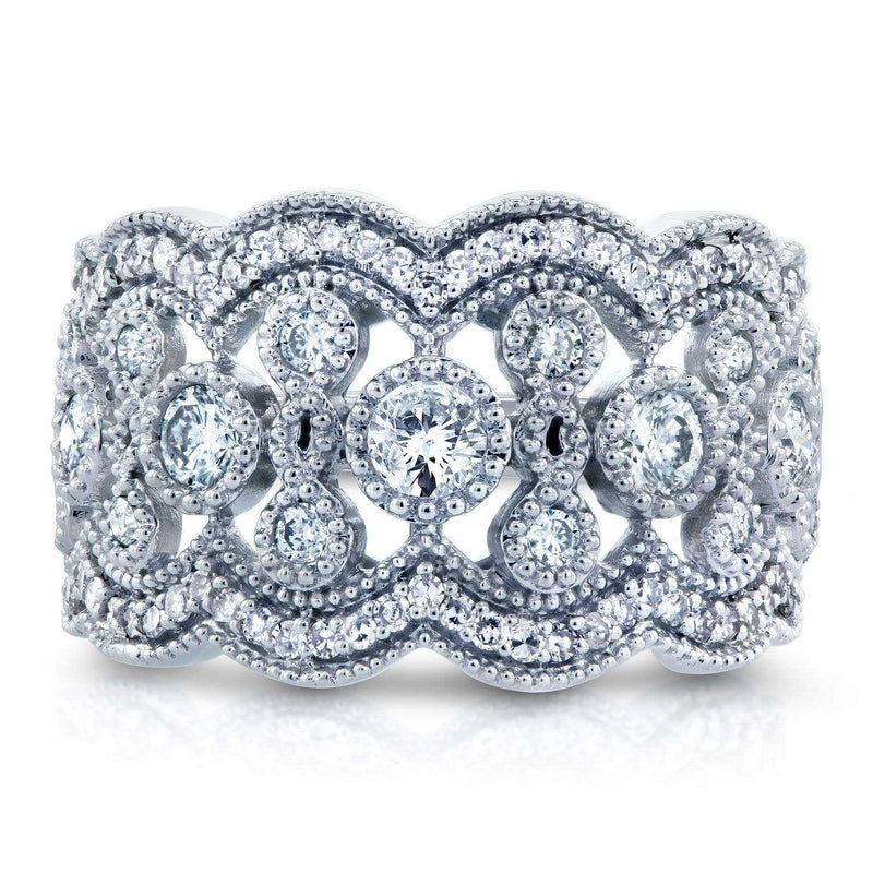 Kobelli Wide Floral Fashion Diamond 10k Band