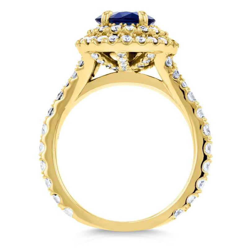 Kobelli Domed Cluster Blue Sapphire and Diamond Double Halo Ring 2 1/3 Carat TGW in 14k Yellow Gold