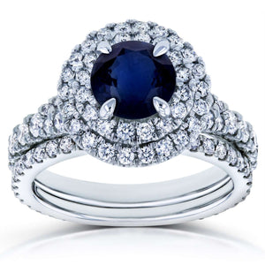 Blue Sapphire and Diamond Double Halo Split Shank Bridal Rings Set 2 5/8 CTW 14k White Gold