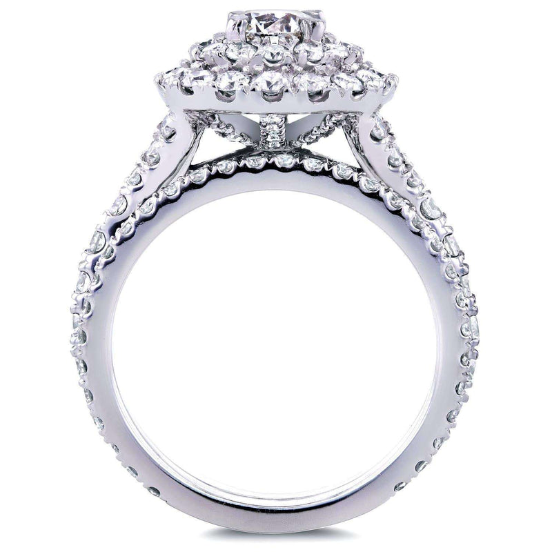 Kobelli Round Diamond Cluster Cathedral Bridal Set 2 CTW in 14k White Gold