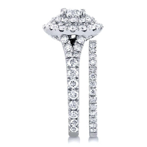 Round Diamond Cluster Cathedral Bridal Set 2 CTW in 14k White Gold