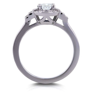 Round and Baguette Diamond Symmetric Ring 4/5 CTW in 14k White Gold