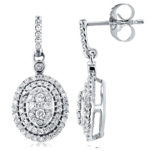 Diamond Dangle Oval Halo Earrings 1/2 CTW in 10K White Gold