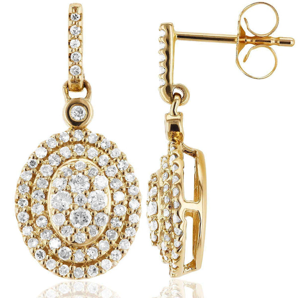 Kobelli Diamond Dangle Oval Halo Earrings 1/2 CTW in 10K Yellow Gold 62230-Y