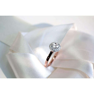 Round Rose Cut Moissanite and Diamond Cluster Engagement Ring 7/8 CTW in 14K Rose Gold