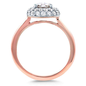 Round Rose Cut Diamond Cluster Engagement Ring 1 2/5 CTW in 14K Rose Gold