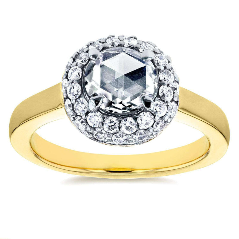 Kobelli Round Rose Cut Diamond Cluster Engagement Ring 1 2/5 CTW in 14K Yellow Gold