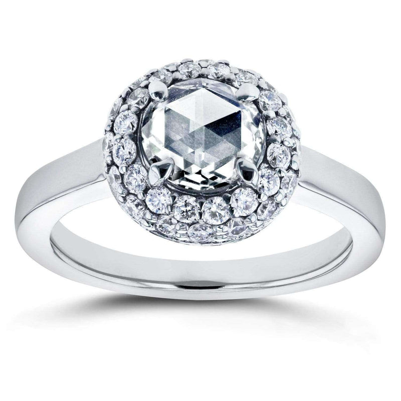 Kobelli Round Rose Cut Diamond Cluster Engagement Ring 1 2/5 CTW in 14K White Gold