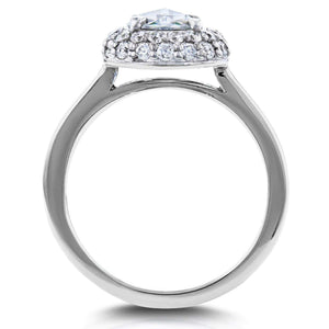 Round Rose Cut Diamond Cluster Engagement Ring 1 2/5 CTW in 14K White Gold