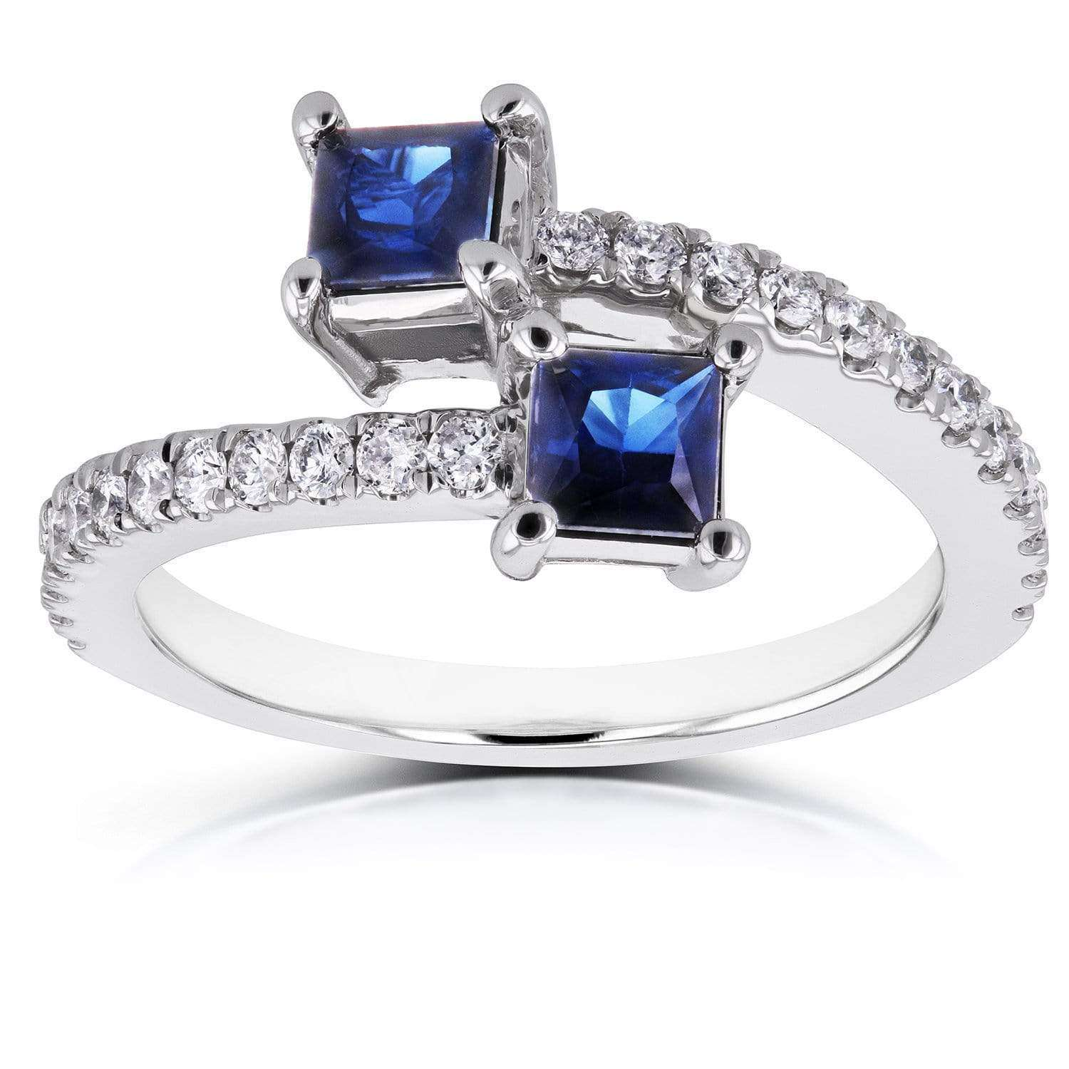 Best Two Collection Sapphire and Diamond 2-Stone Wrap Over Ring 7/8 CTW in 14k White Gold - 9.5