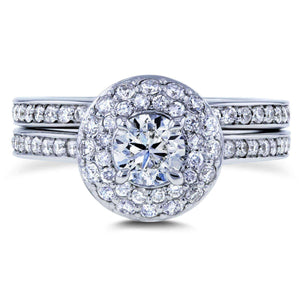 Kobelli Diamond Dome Double Halo Bridal Rings 1 1/8 Carat TDW in 14k White Gold