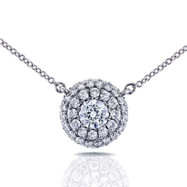 "Kobelli Round Diamond Cluster Necklace 7/8 CTW in 14K White Gold (16"" Cable Gold Chain) 62235"