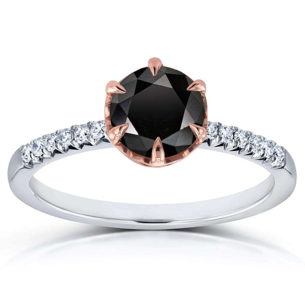 Kobelli Black Diamond Engagement Ring 1 1/8 CTW in Two-Tone 14k Gold