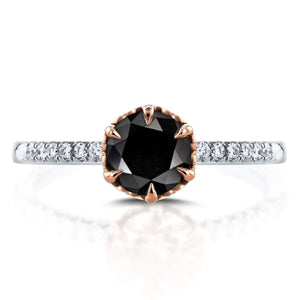 Black Diamond Engagement Ring 1 1/8 CTW in Two-Tone 14k Gold