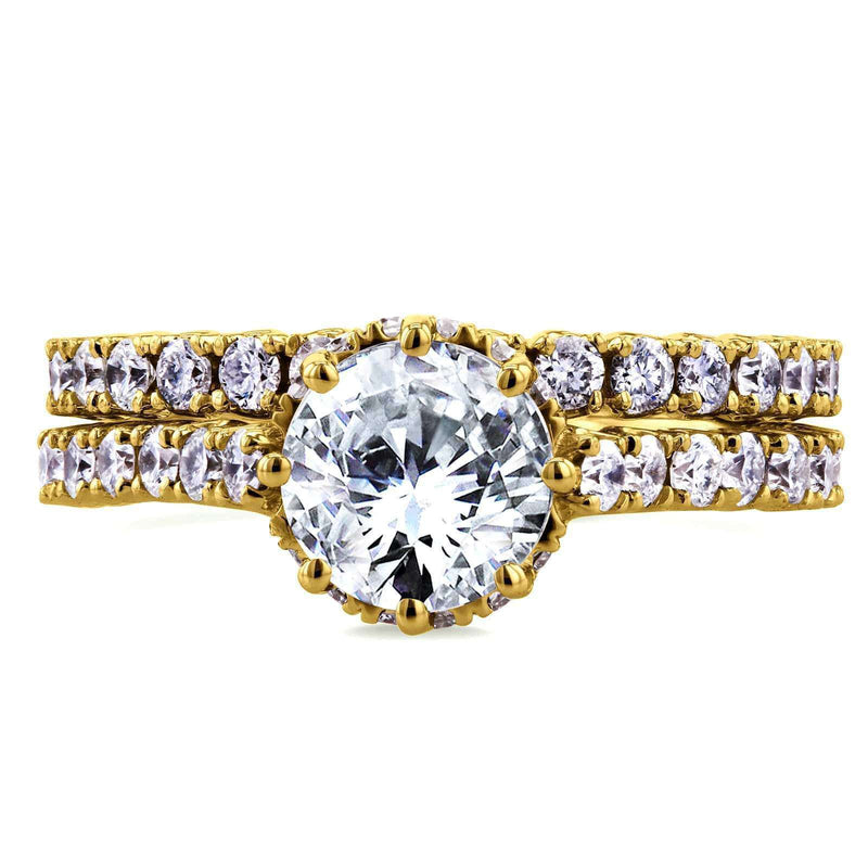 Kobelli Diamond 8-Prong Center Standing Halo Bridal Set 2 1/10 CTW in 14k Yellow Gold