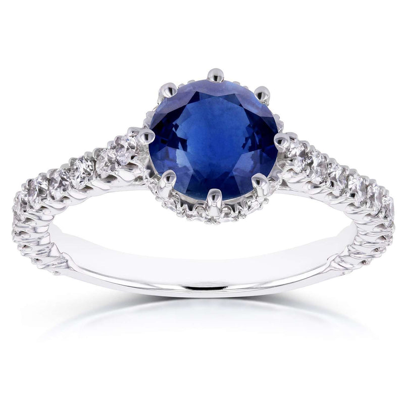Sapphire and Diamond 8-Prong Standing Halo Engagement Ring 1 4/5 CTW in 14k White Gold