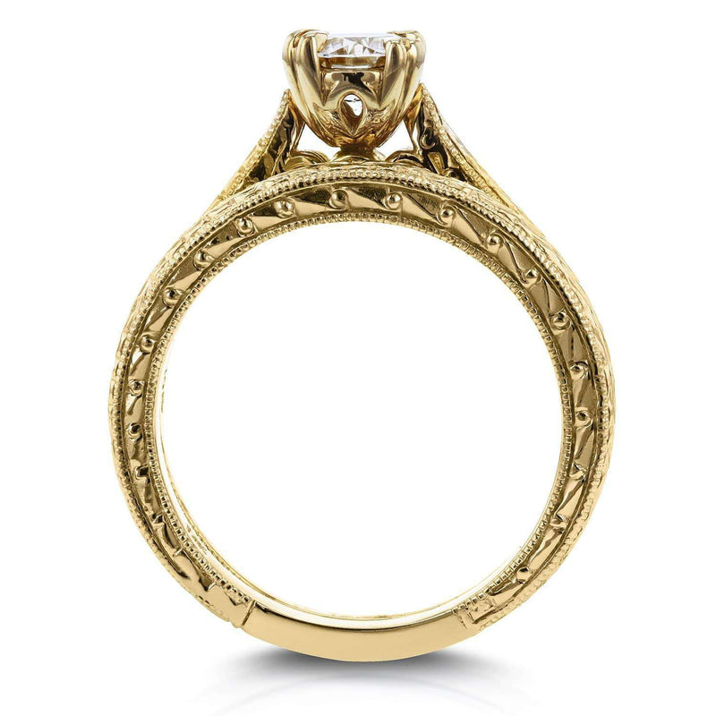Kobelli Round-cut Diamond Vintage Bridal Rings Set 1/2 Carat (ctw) in 14k Yellow Gold