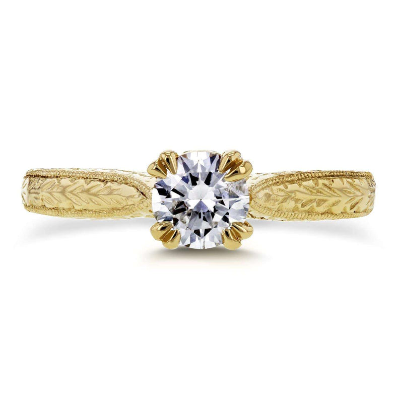 Kobelli Round-cut Diamond Vintage Engagement Ring 1/2 Carat (ctw) in 14k Yellow Gold