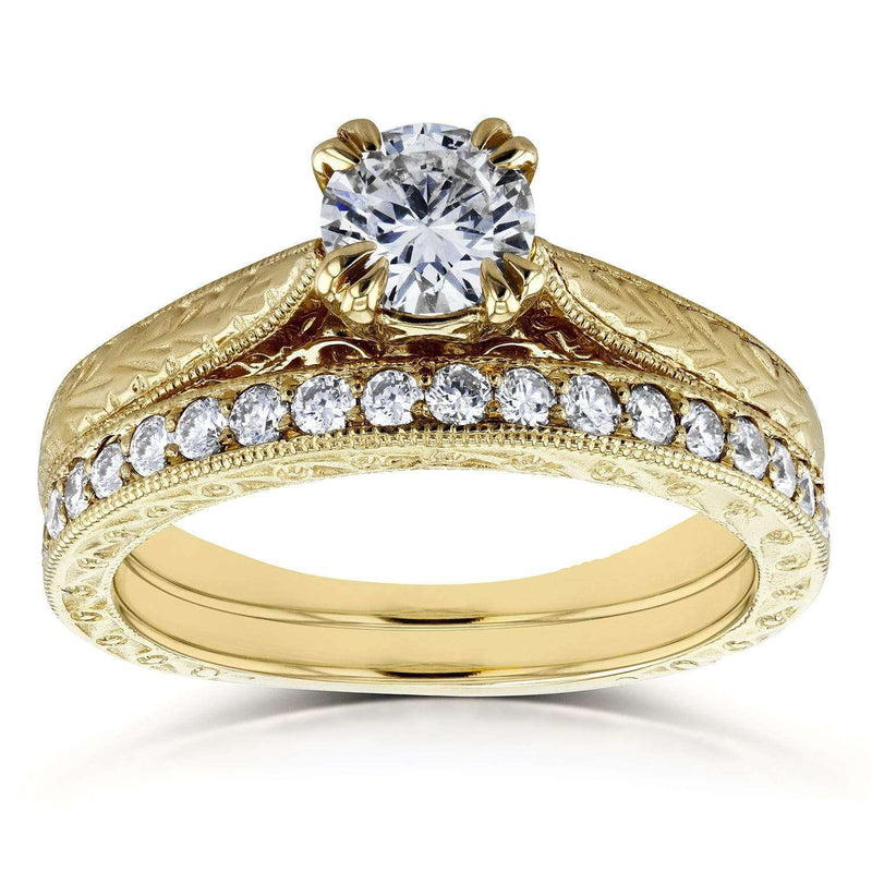Kobelli Round-cut Diamond Vintage Bridal Rings Set 7/8 Carat (ctw) in 14k Yelllow Gold