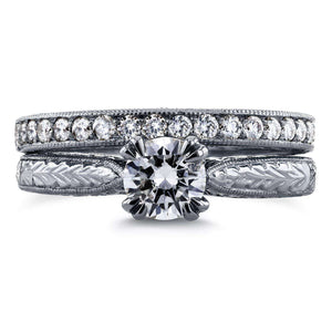 Kobelli Round-cut Diamond Vintage Bridal Rings Set 7/8 Carat (ctw) in 14k White Gold
