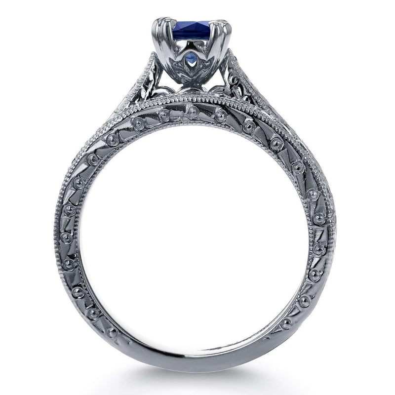 Round-cut Sapphire and Diamond Vintage Bridal Rings Set 7/8 Carat (ctw) in 14k White Gold
