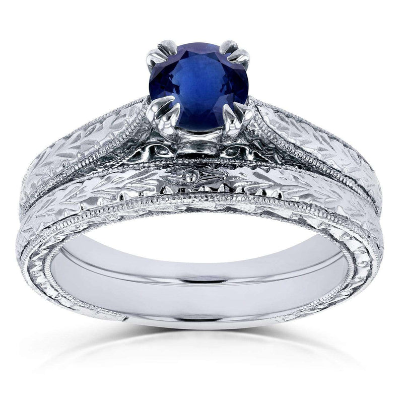 Kobelli Round-cut Sapphire and Diamond Vintage Bridal Rings Set 1/2 Carat (ctw) in 14k White Gold