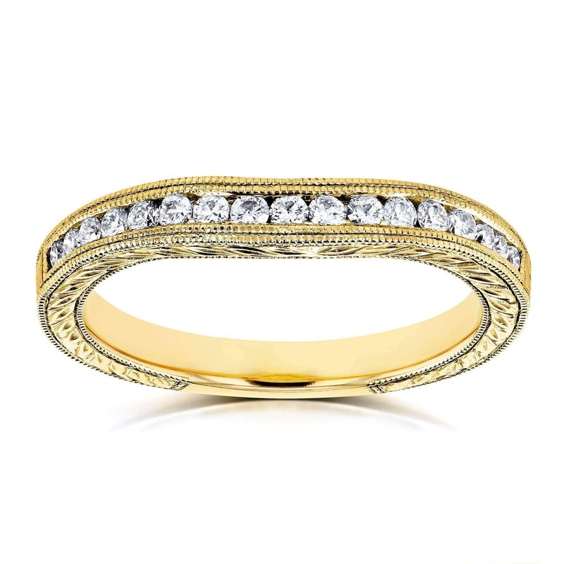 Kobelli Diamond Contoured Wedding Band Vintage Engravings 1/5ct TDW in 14k Yellow Gold