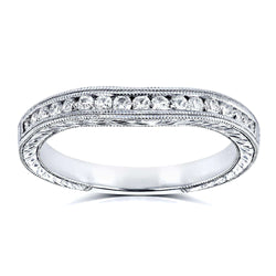 Kobelli Diamond Contoured Wedding Band Vintage Engravings 1/5ct TDW in 14k White Gold